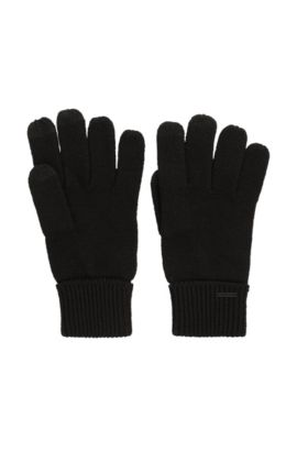 Knitted gloves in a wool blend, Black