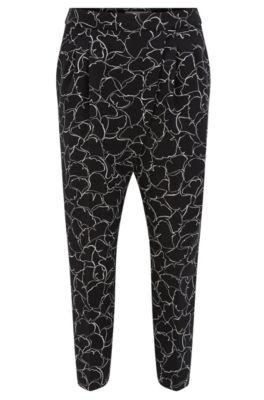 Pantalones tobilleros relaxed fit en tejido elástico, Fantasía