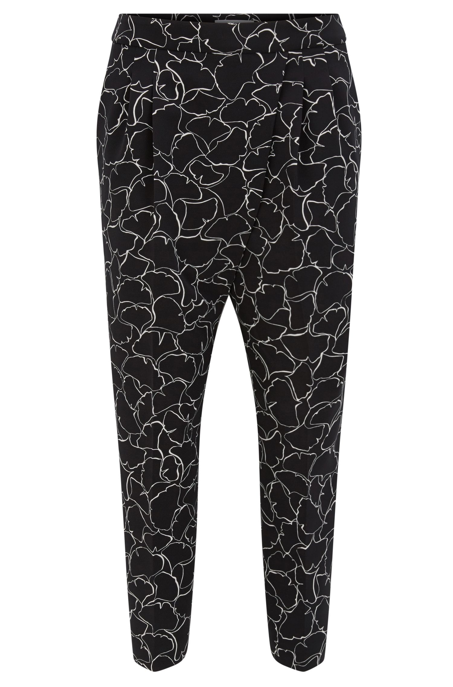 Regular-fit, cropped broek van stretchmateriaal