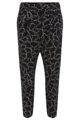 Regular-fit, cropped broek van stretchmateriaal, Bedrukt