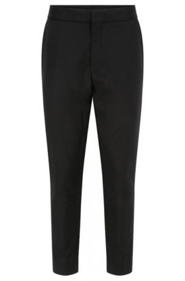 Slim-fit trousers in virgin wool, Black