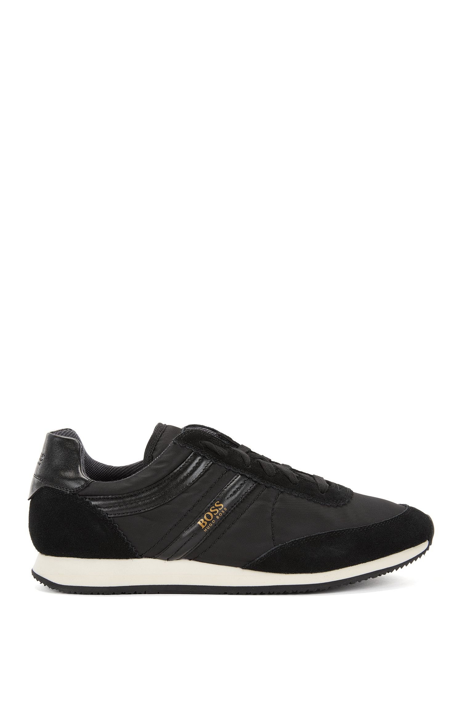Lace-up trainers with suede panels