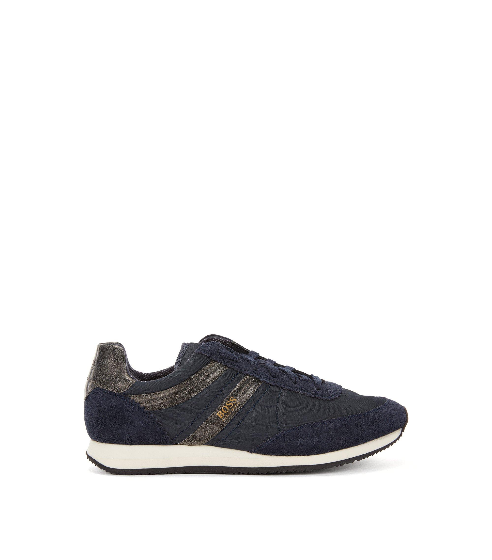 Sneakers aus Material-Mix mit Veloursleder-Bahnen, Dunkelblau