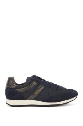 Lace-up trainers with suede panels, Dark Blue