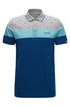 Regular-fit polo shirt in a cotton blend, Patterned