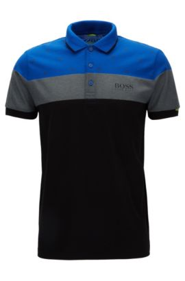 Polo regular fit in misto cotone, Blu