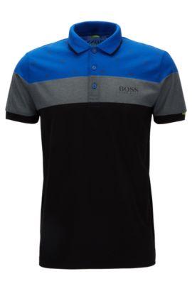 Regular-fit polo shirt in a cotton blend, Blue