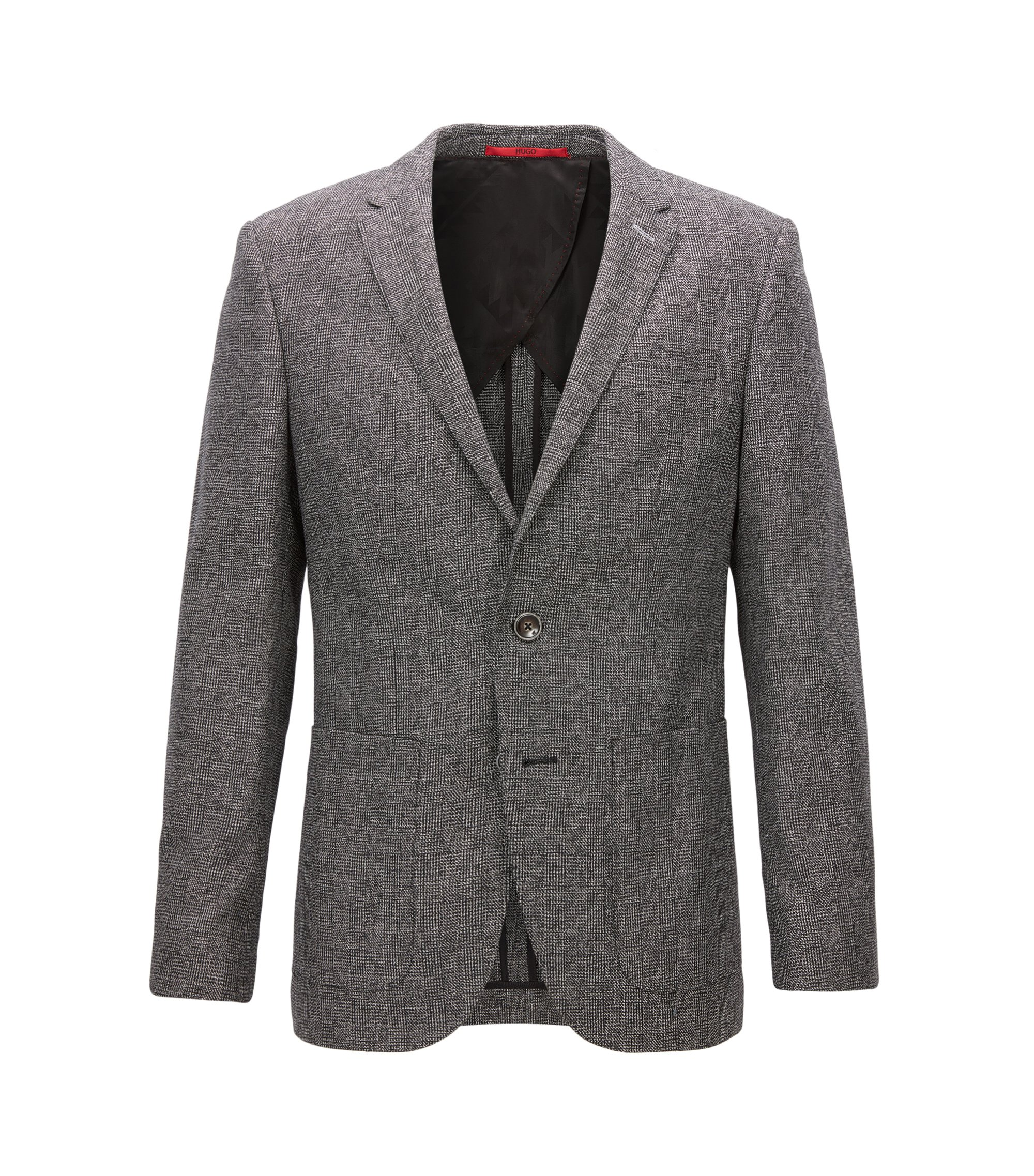 Slim-fit jacket in a micro-check fabric, Grey