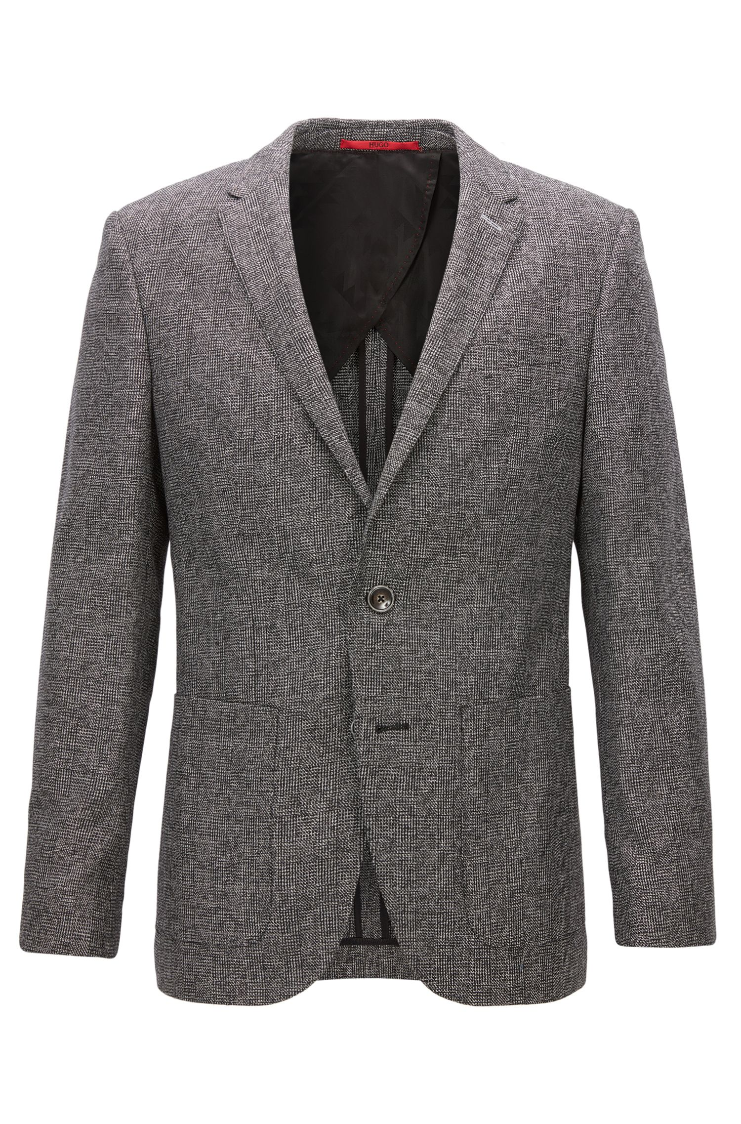 Slim-fit jacket in a micro-check fabric