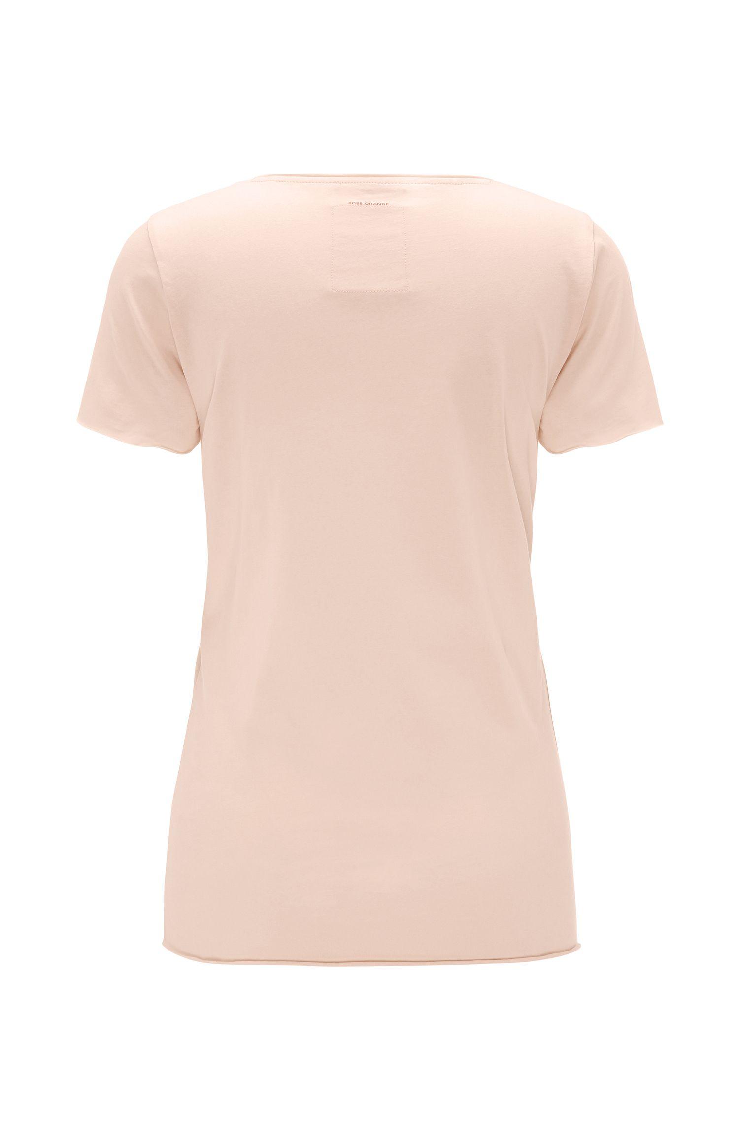 T-shirt van zuiver katoen met print: 'Tilogo', Lichtroze