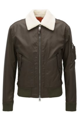 Relaxed-fit jacket with faux-shearling collar, Dark Green