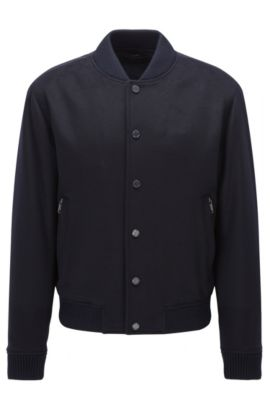 Wool-blend coat in a relaxed fit, Dark Blue