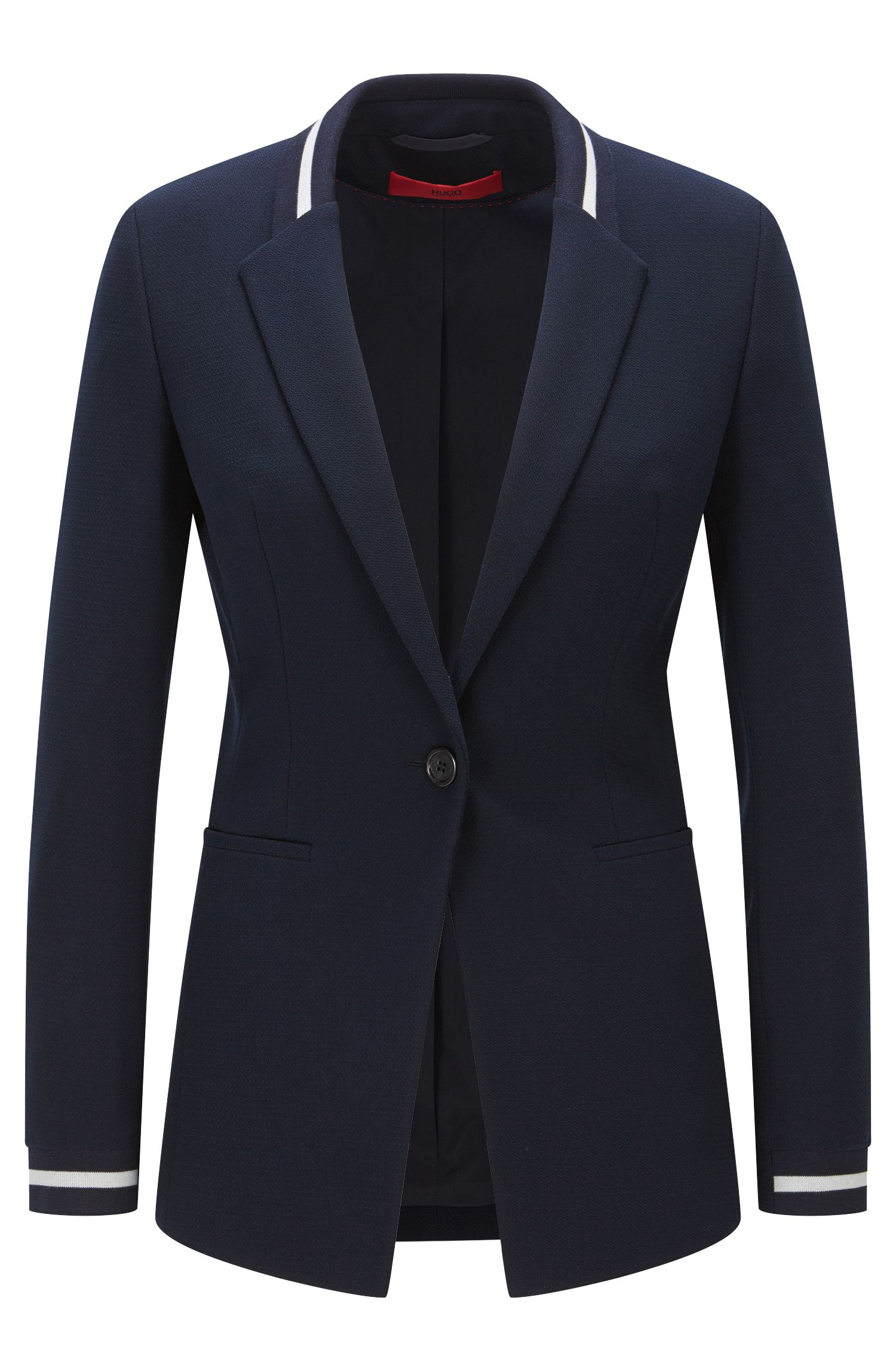 Regular-Fit Blazer aus elastischem Material-Mix