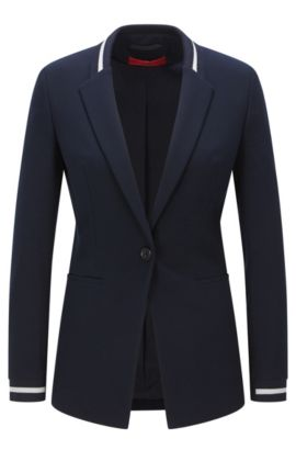 Regular-fit jacket in piqué fabric, Dark Blue