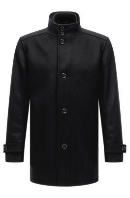 Regular-fit mantel van een wolmix met gilet, Zwart