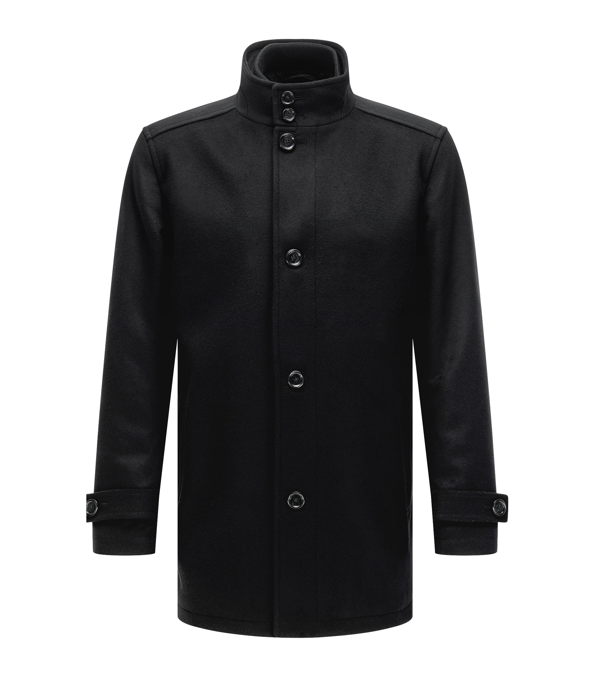 Regular-fit wool-blend coat with waistcoat, Black