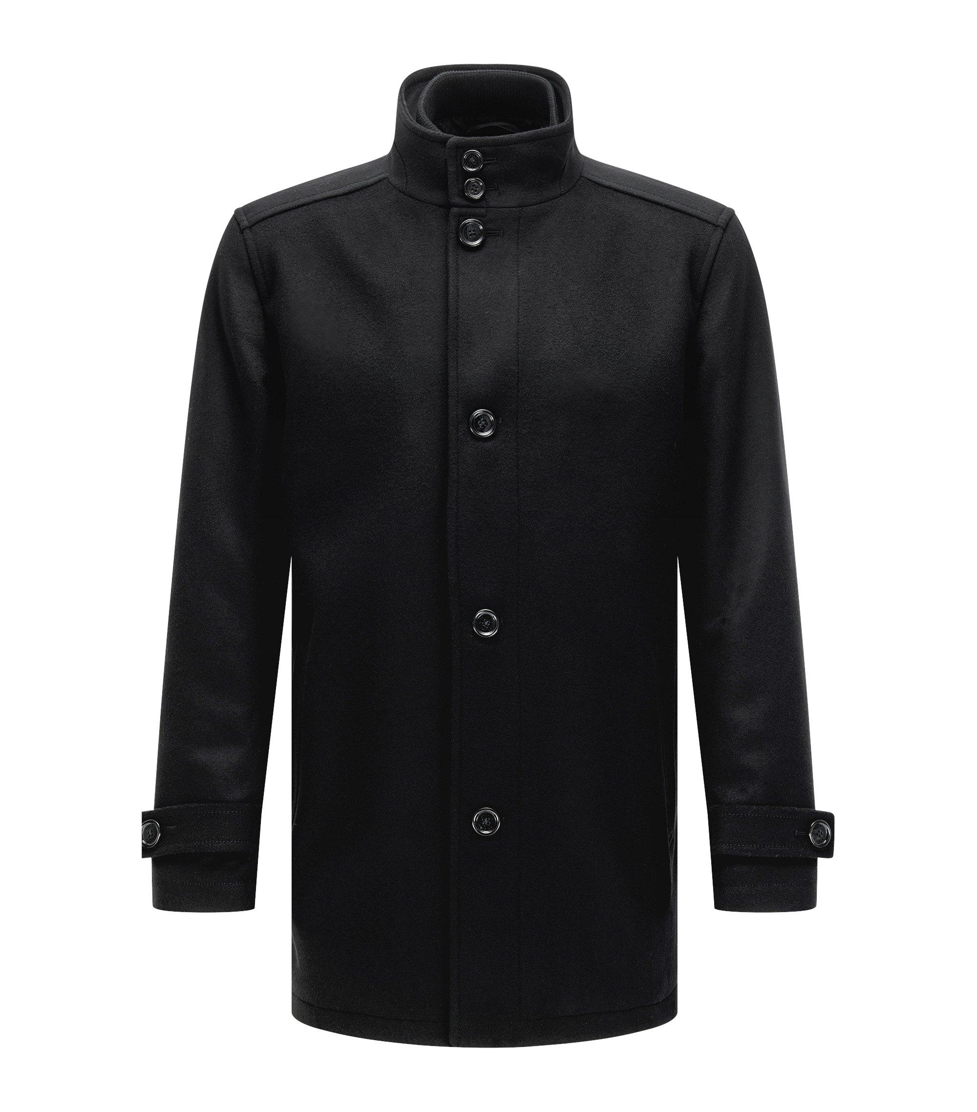 Manteau Regular Fit en laine mélangée avec gilet, Noir