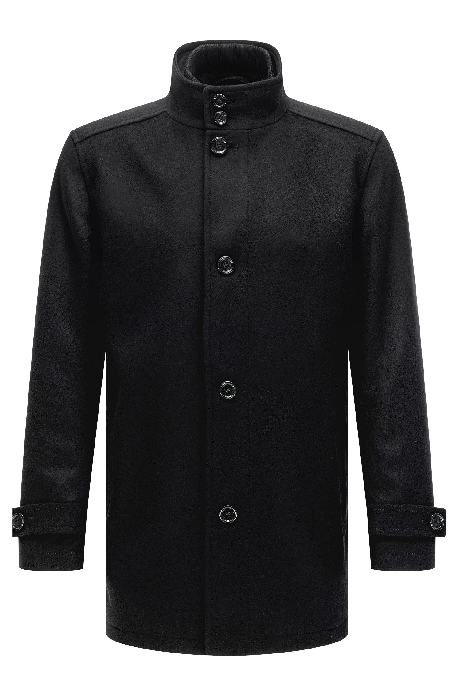 Regular-fit wool-blend coat with waistcoat