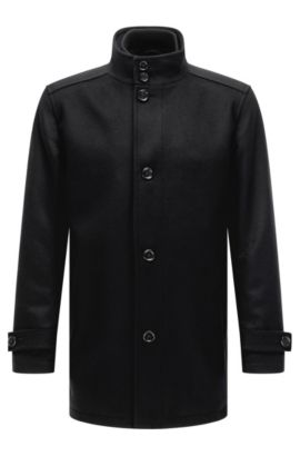 Regular-fit wool-blend coat with waistcoat, Zwart