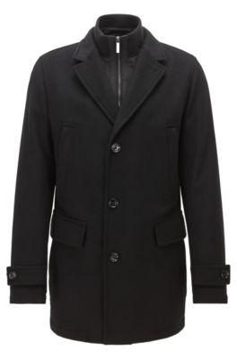 Regular-fit jas van een scheerwolmix, Zwart