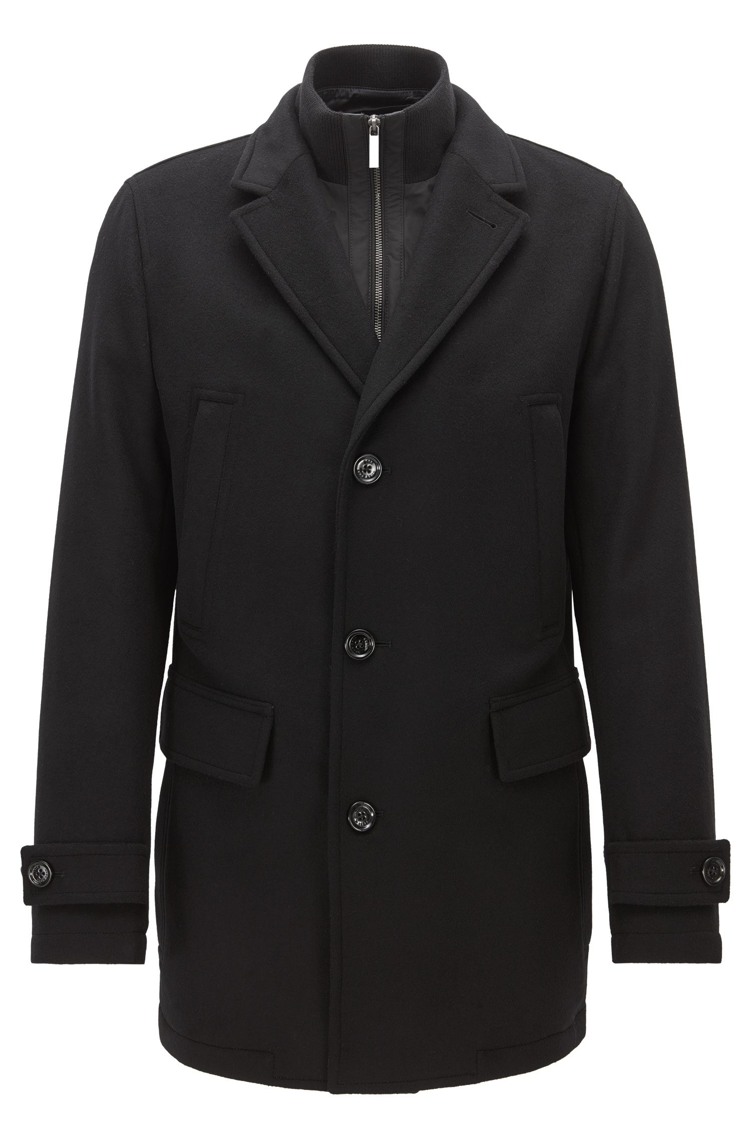 Regular-fit jacket in virgin wool-blend