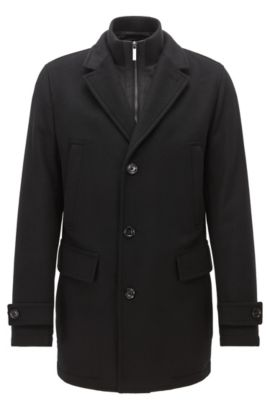 Cappotto regular fit in misto lana vergine, Nero