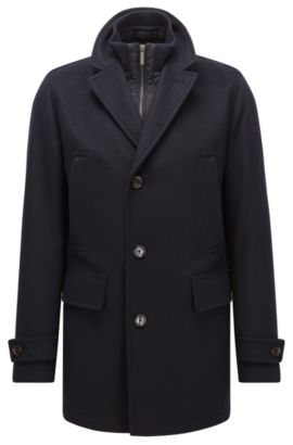 Cappotto regular fit in misto lana vergine, Blu scuro