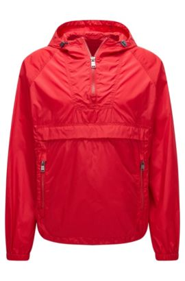 Leichte Oversize-Fit-Jacke aus wasserabweisendem Material-Mix, Rot