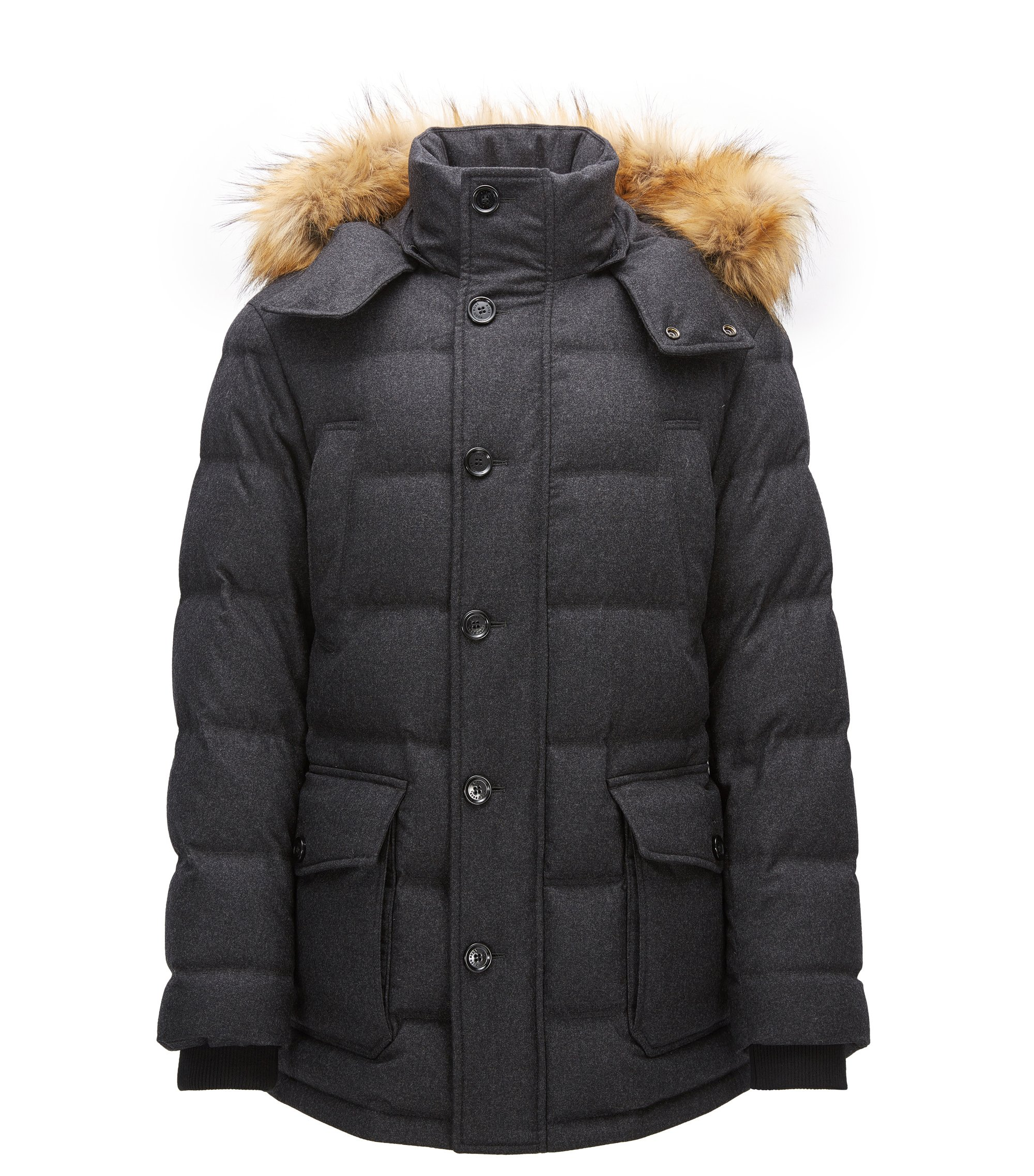 Relaxed-fit parka in a wool blend, Dark Grey