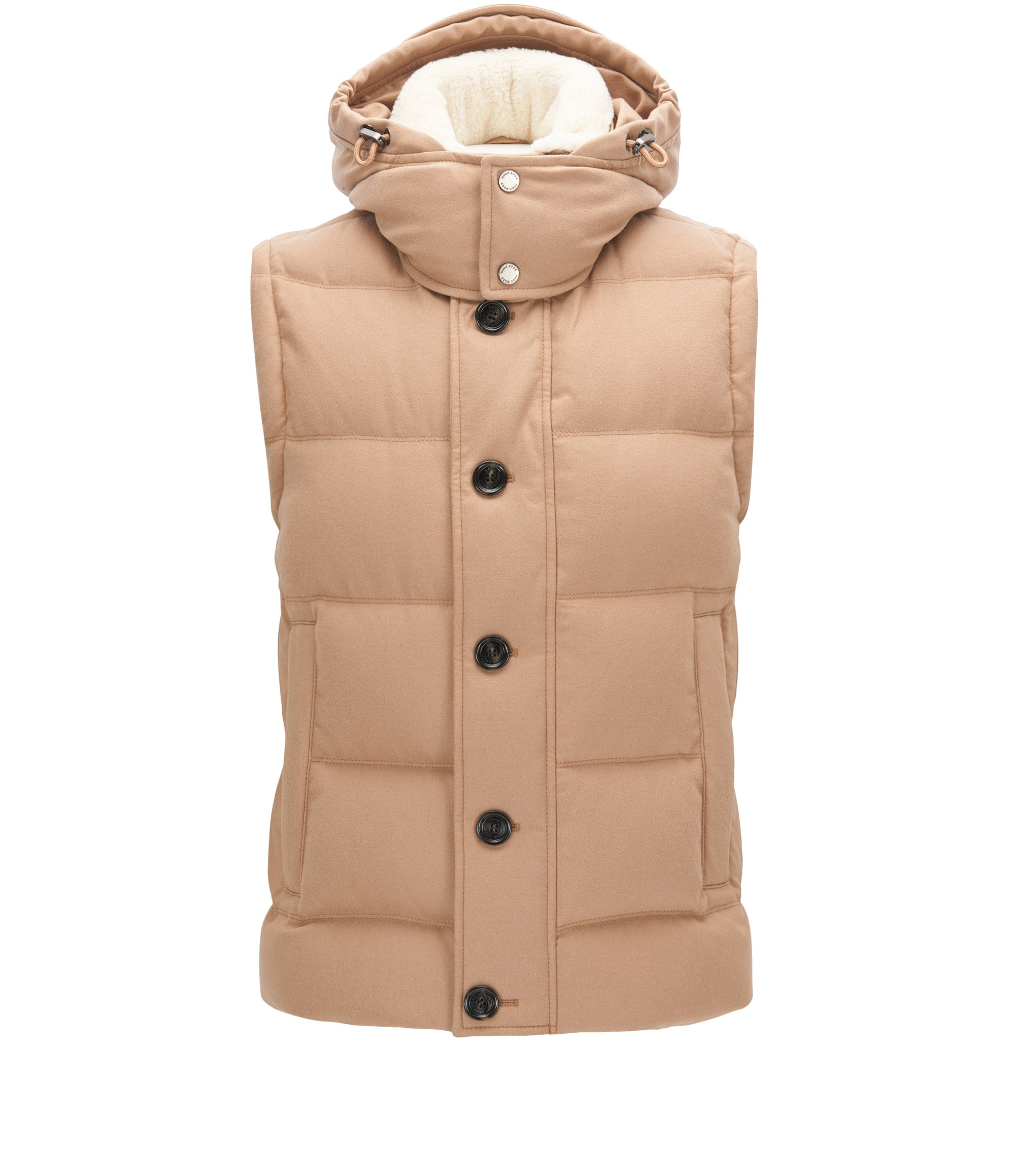 Gilet tecnico relaxed fit con imbottitura di piume, Beige