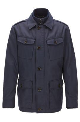 Relaxed-fit field jacket in water-repellent twill, Dark Blue