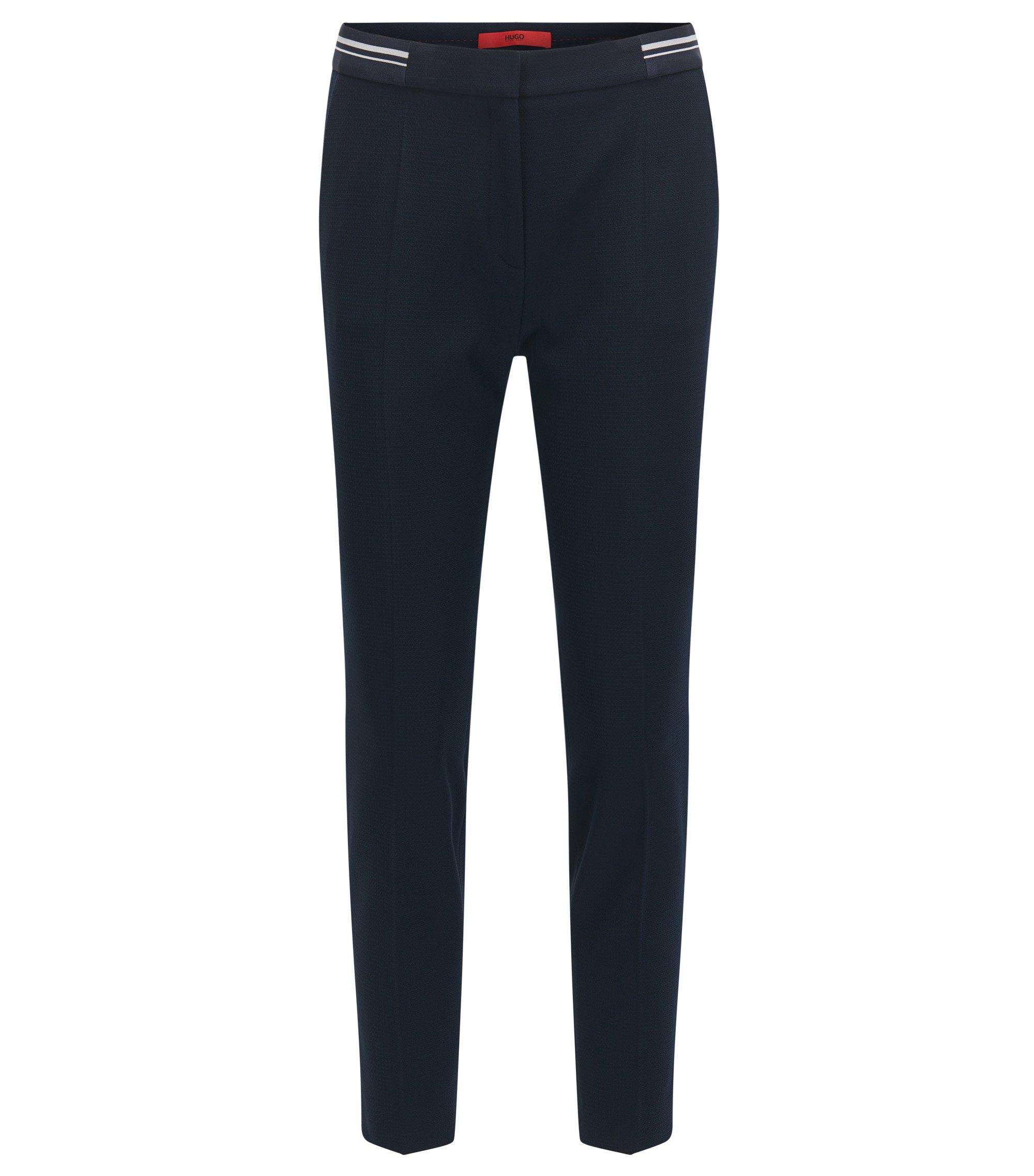 Slim-fit broek van een piquéstof , Donkerblauw