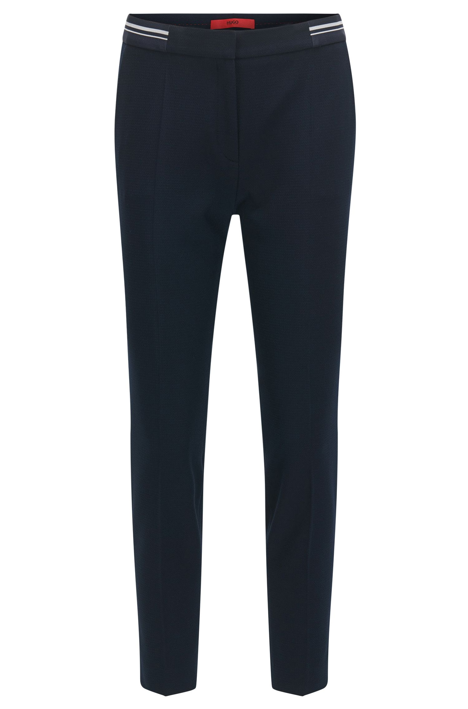 Slim-fit trousers in piqué fabric