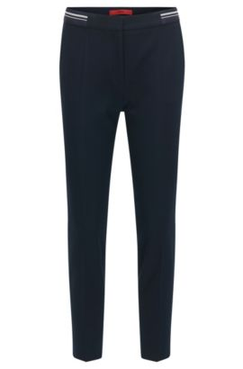 Slim-fit trousers in piqué fabric , Dark Blue