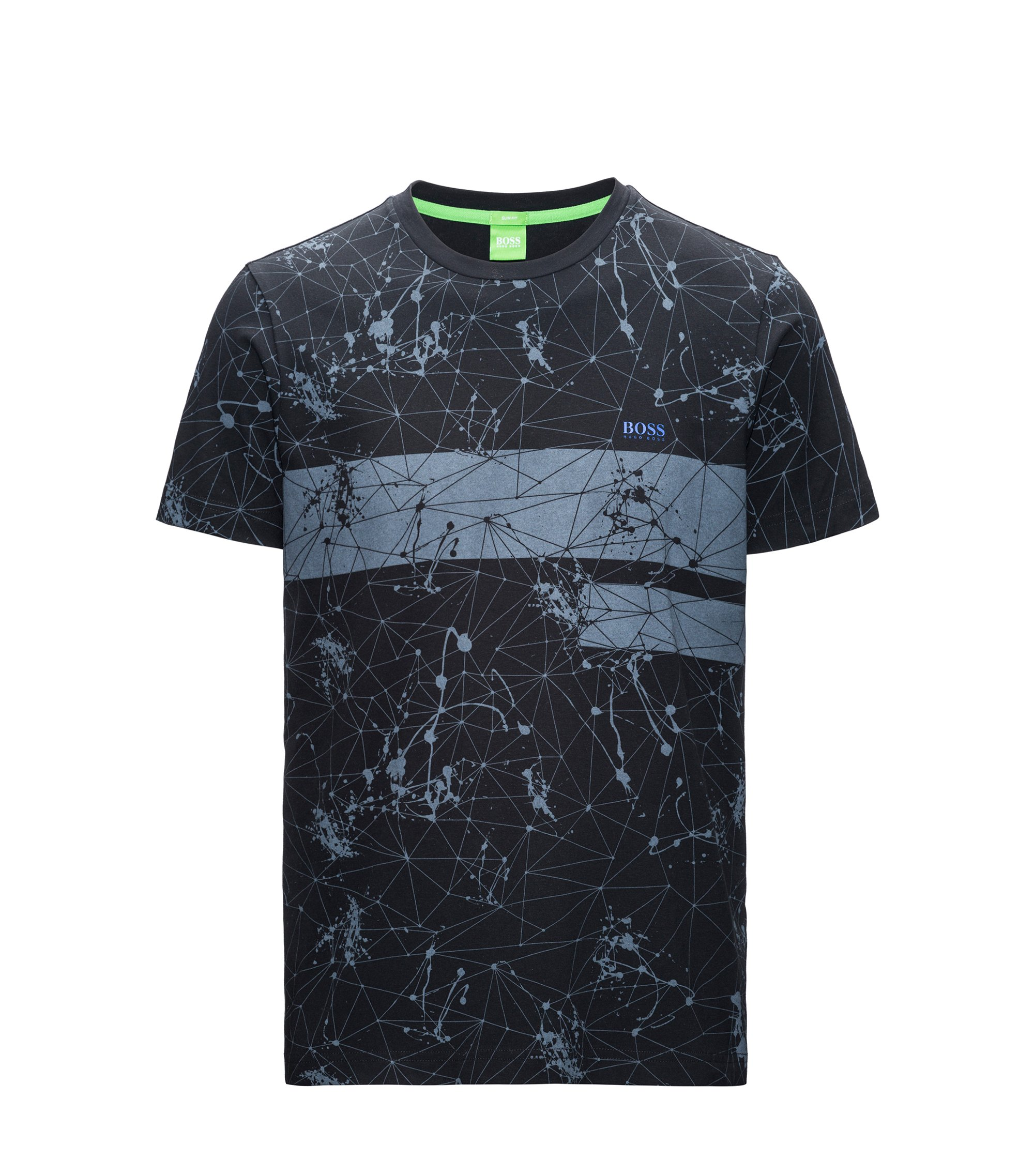 T-shirt regular fit con stampa in jersey singolo, Nero