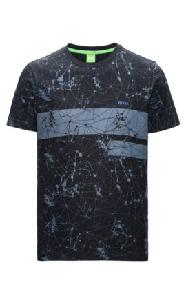 Regular-fit T-shirt van single jersey met print, Zwart
