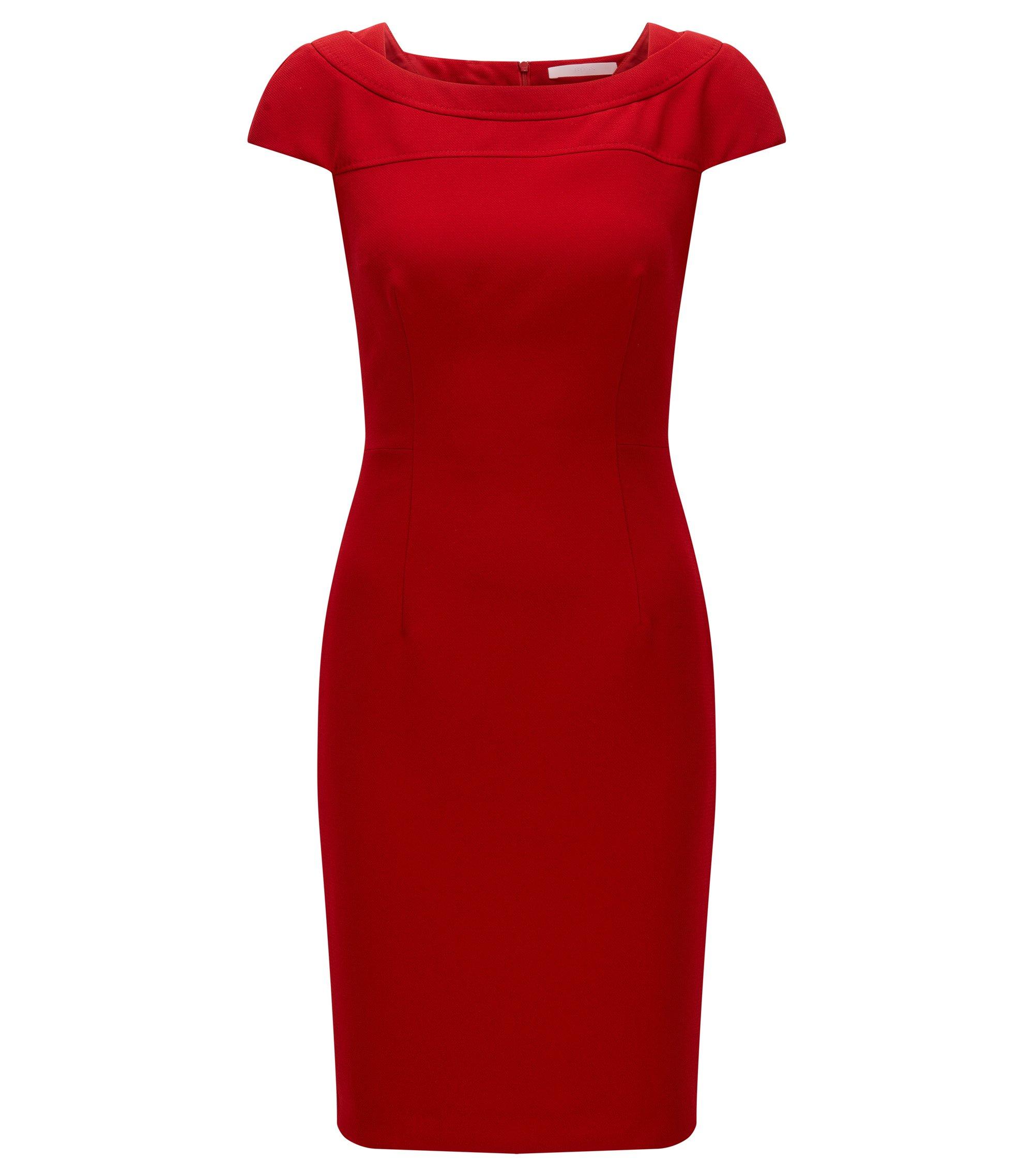 Slim-fit jurk van gestructureerde crêpe, Rood