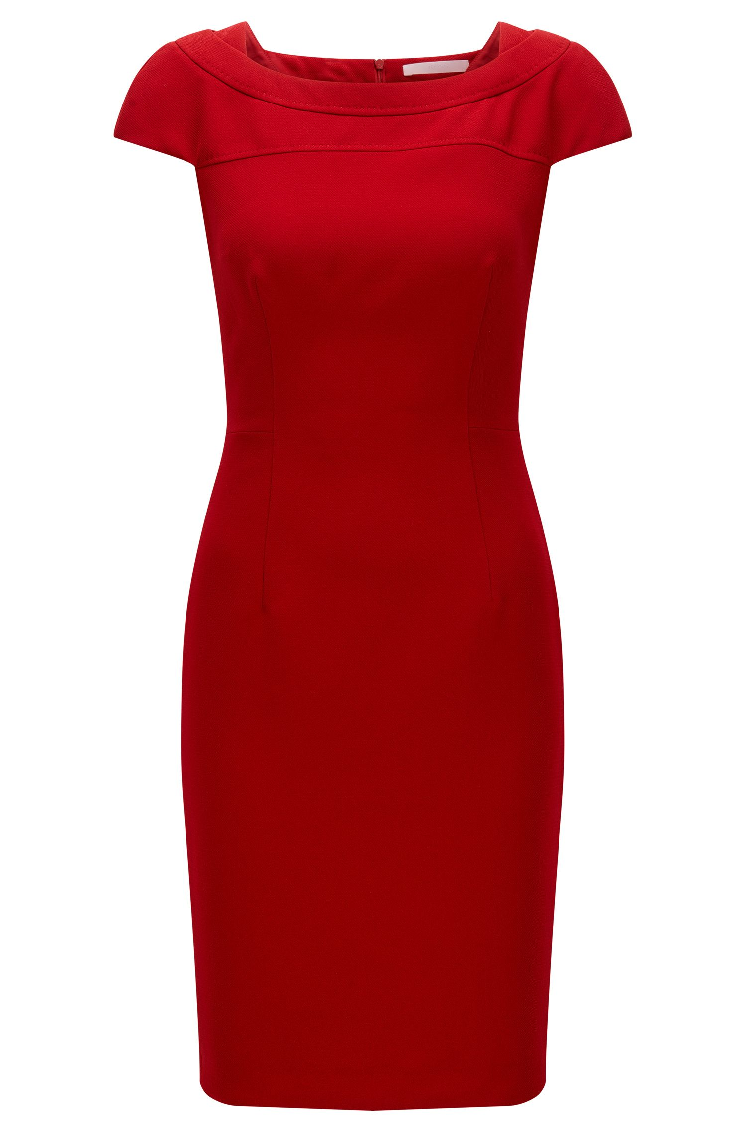 Slim-fit dress in structured crêpe