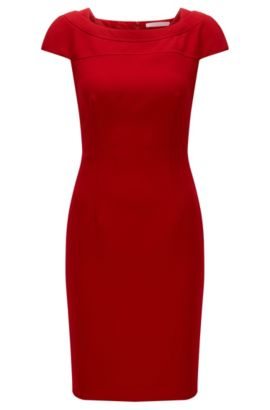 Robe Slim Fit en crêpe structuré, Rouge