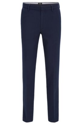 Slim-fit chinos in textured stretch cotton, Dark Blue