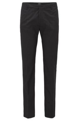 Slim-fit trousers in mercerised stretch cotton, Black