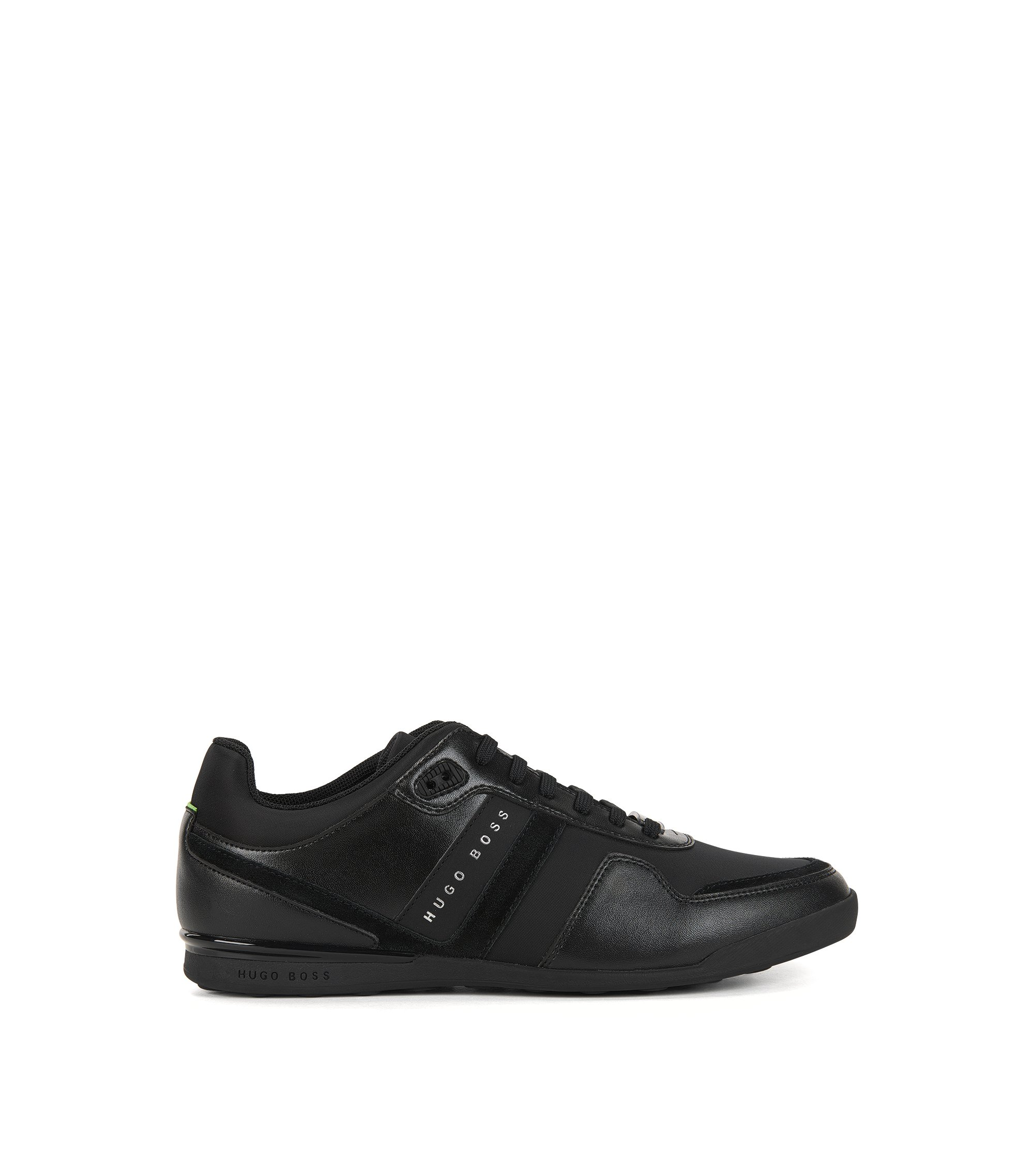 Low-top trainers with leather panels, Black