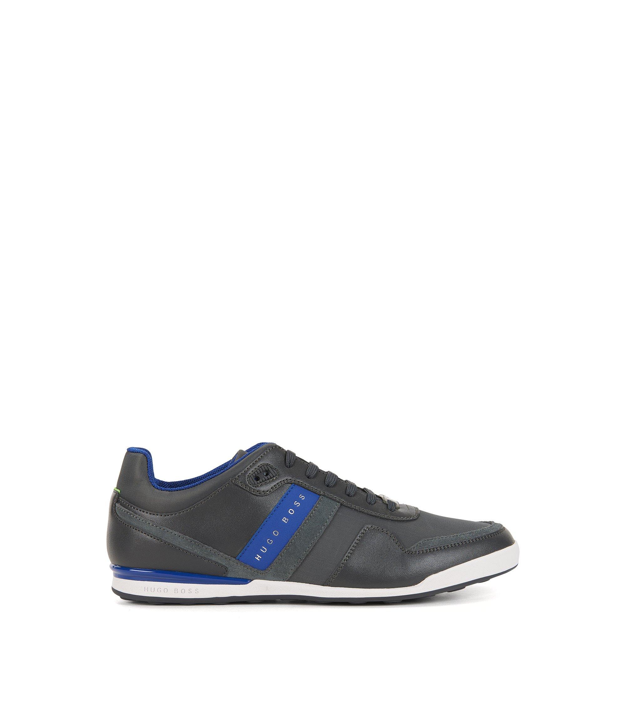 Lage sneakers met leren stroken, Donkergrijs