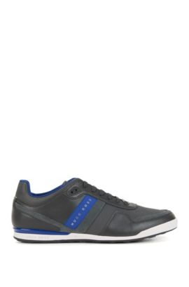 Low-top trainers with leather panels, Dark Grey