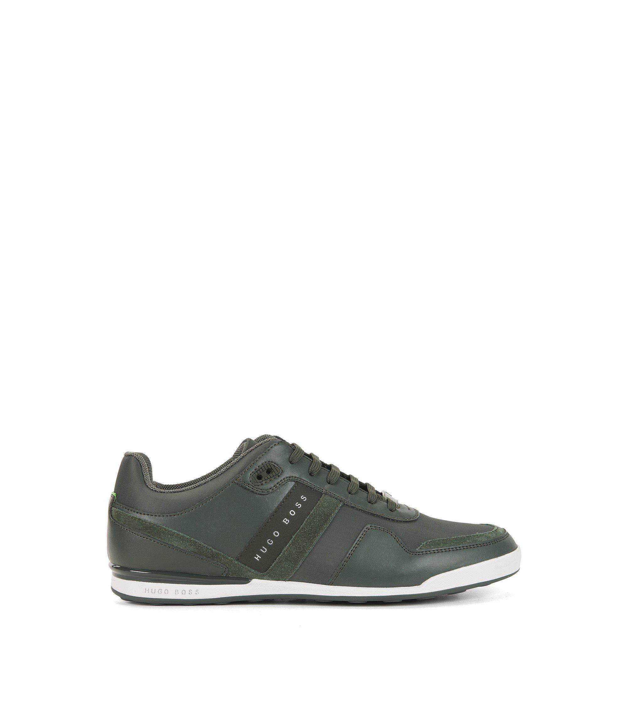 Sneakers low-top con sezioni in pelle, Verde scuro