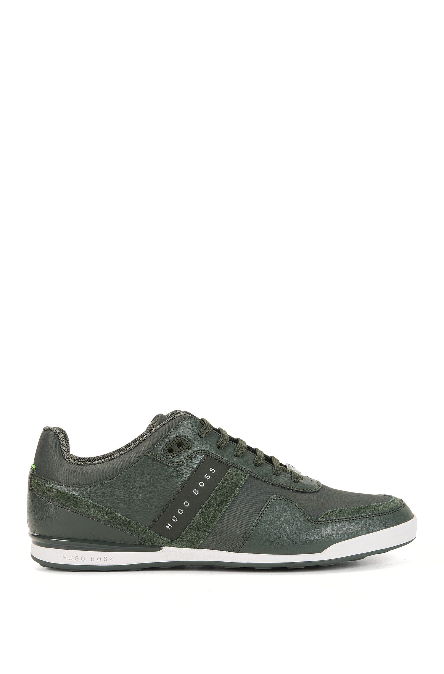 Low-top trainers with leather panels