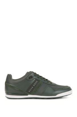 Low-top trainers with leather panels, Dark Green