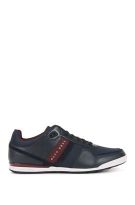 Low-top trainers with leather panels, Bleu foncé