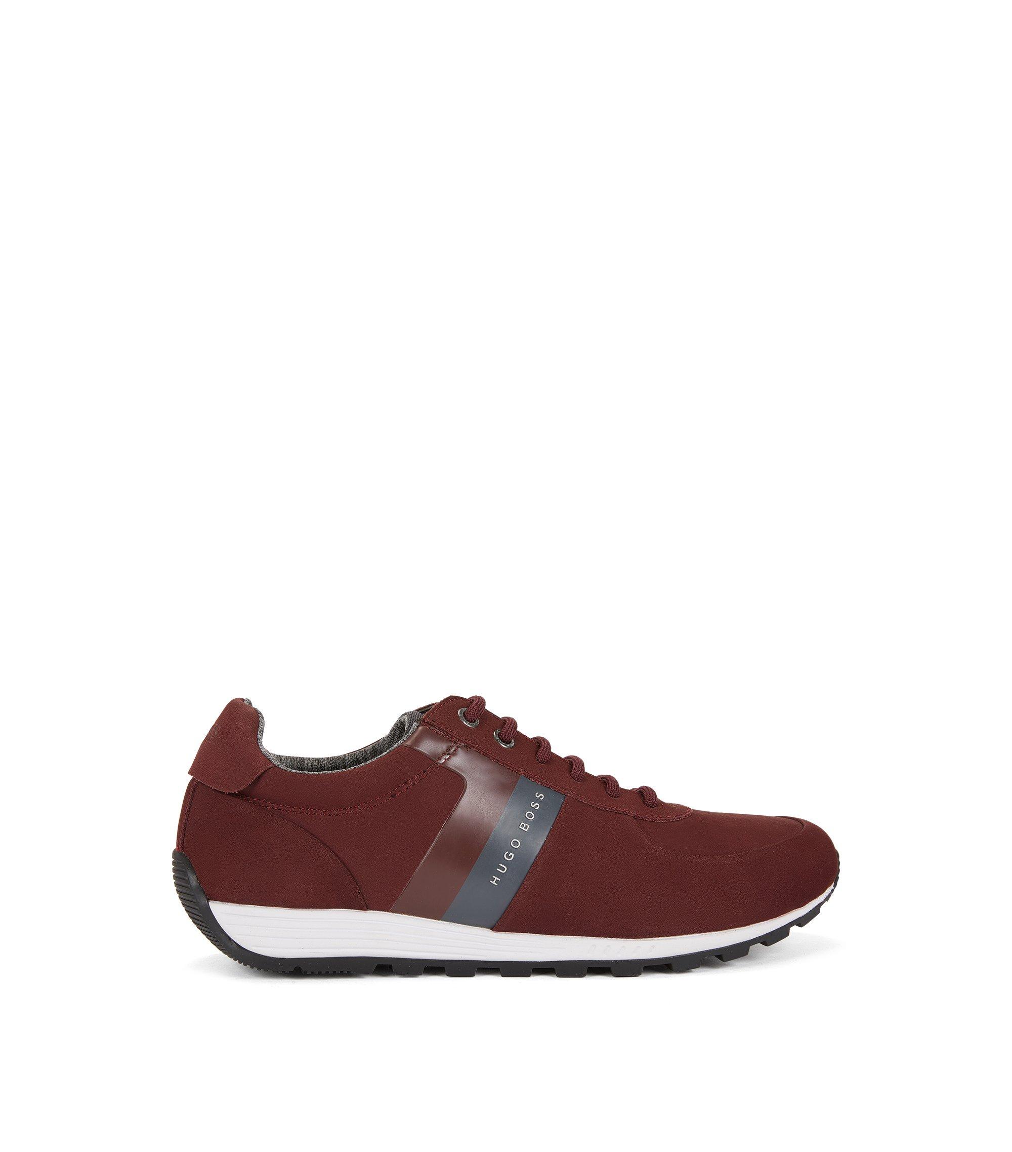 Retro-Sneakers aus weichem Nubukleder, Dunkelrot