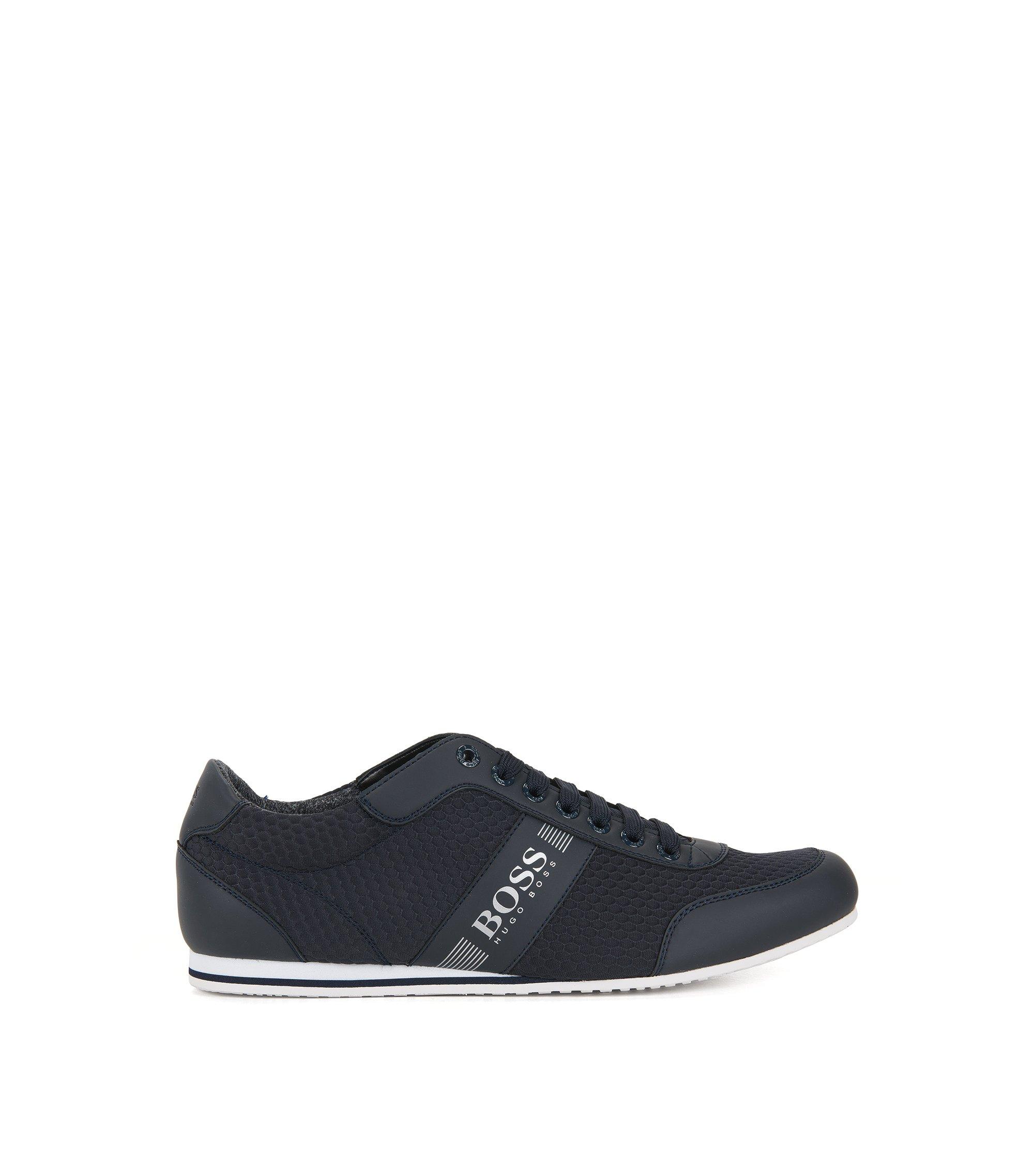 Lage sneakers van neopreen met reliëf, Donkerblauw